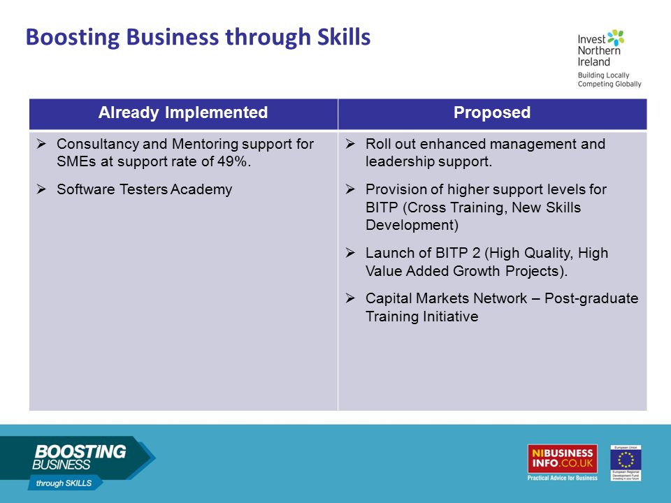Boosting Business through Skills Already ImplementedProposed  Consultancy and Mentoring support for SMEs at support rate of 49%.  Software Testers A