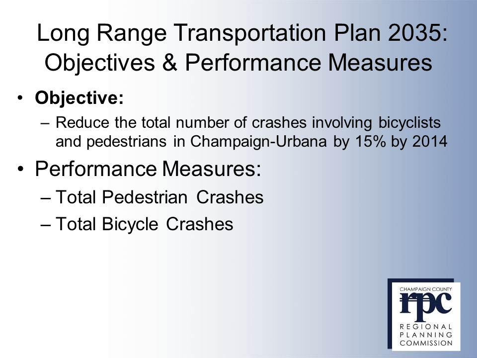 Long Range Transportation Plan 2035: Objectives & Performance Measures Objective: –Reduce the total number of crashes involving bicyclists and pedestrians in Champaign-Urbana by 15% by 2014 Performance Measures: –Total Pedestrian Crashes –Total Bicycle Crashes
