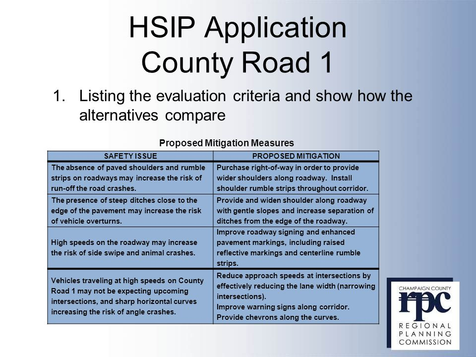 HSIP Application County Road 1 SAFETY ISSUEPROPOSED MITIGATION The absence of paved shoulders and rumble strips on roadways may increase the risk of r