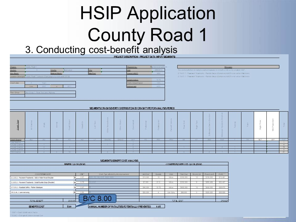 HSIP Application County Road 1 B/C 8.00 3. Conducting cost-benefit analysis