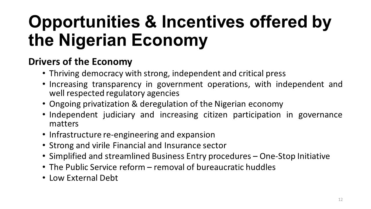 Opportunities & Incentives offered by the Nigerian Economy Drivers of the Economy Thriving democracy with strong, independent and critical press Incre