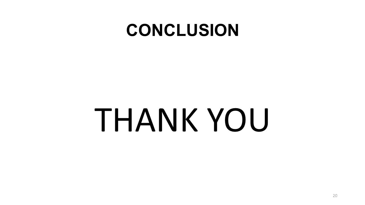 CONCLUSION THANK YOU 20