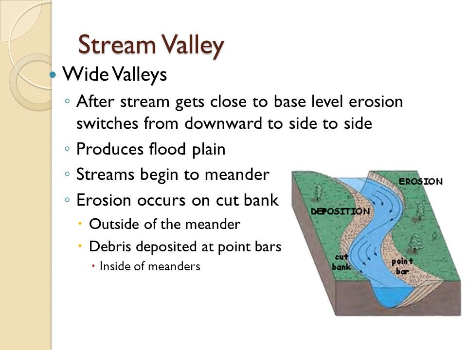 Stream Valley Wide Valleys ◦ After stream gets close to base level erosion switches from downward to side to side ◦ Produces flood plain ◦ Streams begin to meander ◦ Erosion occurs on cut bank  Outside of the meander  Debris deposited at point bars  Inside of meanders
