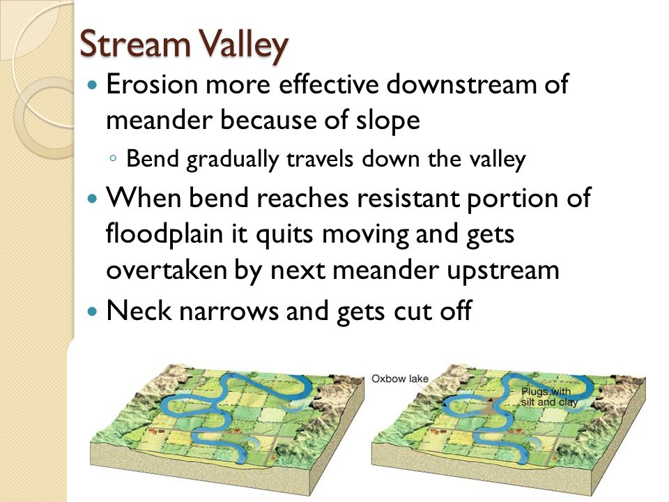 Stream Valley Erosion more effective downstream of meander because of slope ◦ Bend gradually travels down the valley When bend reaches resistant portion of floodplain it quits moving and gets overtaken by next meander upstream Neck narrows and gets cut off Abandoned bend = Oxbow lake