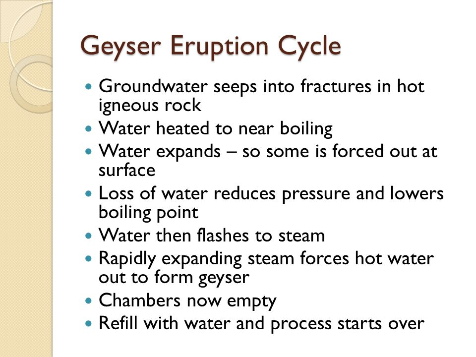 Geyser Eruption Cycle Groundwater seeps into fractures in hot igneous rock Water heated to near boiling Water expands – so some is forced out at surface Loss of water reduces pressure and lowers boiling point Water then flashes to steam Rapidly expanding steam forces hot water out to form geyser Chambers now empty Refill with water and process starts over