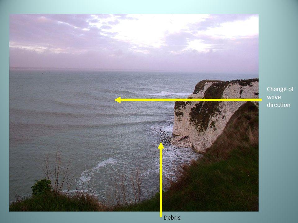 Change of wave direction Debris