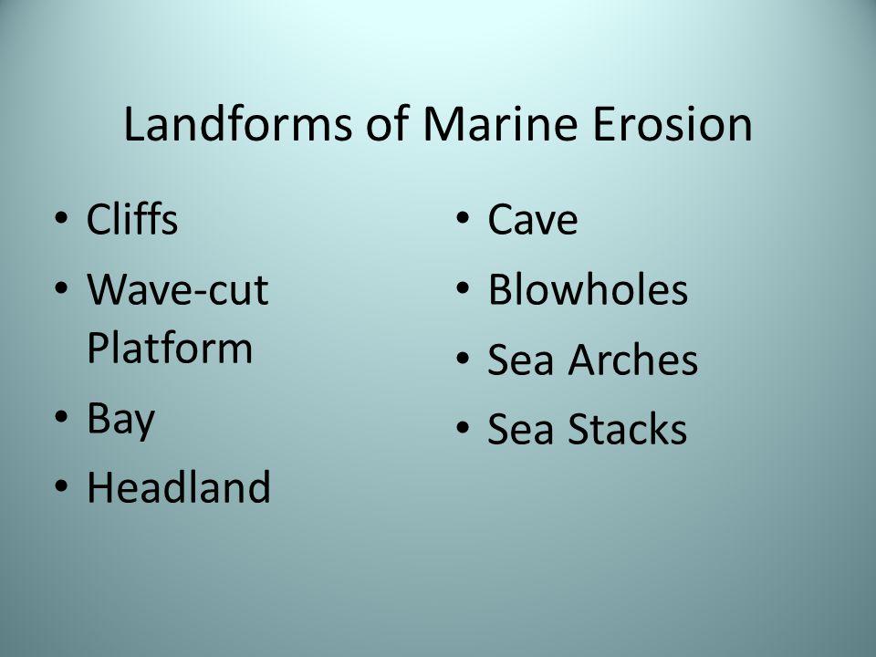 Landforms of Marine Erosion Cliffs Wave-cut Platform Bay Headland Cave Blowholes Sea Arches Sea Stacks