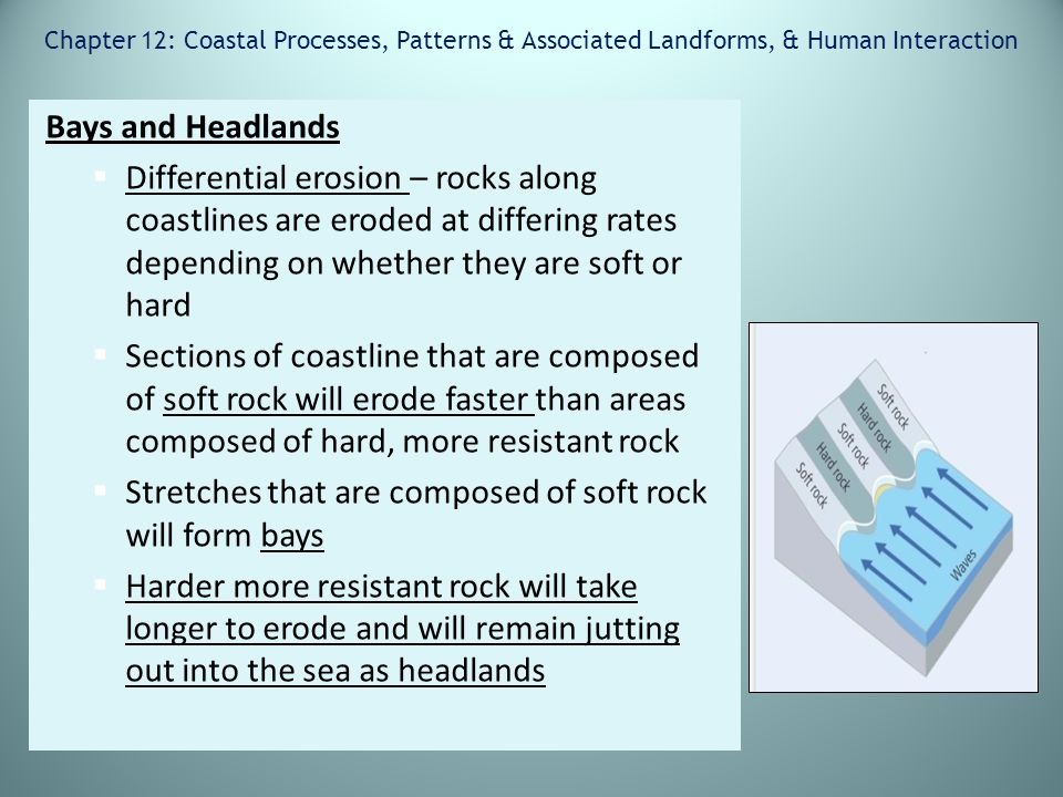 Chapter 12: Coastal Processes, Patterns & Associated Landforms, & Human Interaction Bays and Headlands  Differential erosion – rocks along coastlines