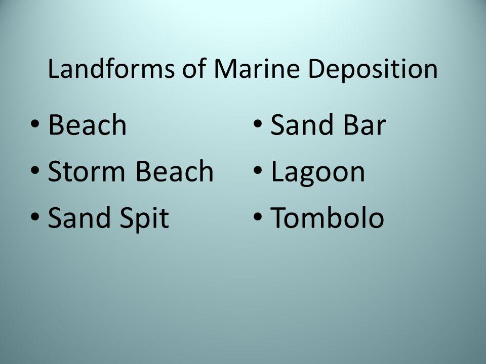 Landforms of Marine Deposition Beach Storm Beach Sand Spit Sand Bar Lagoon Tombolo