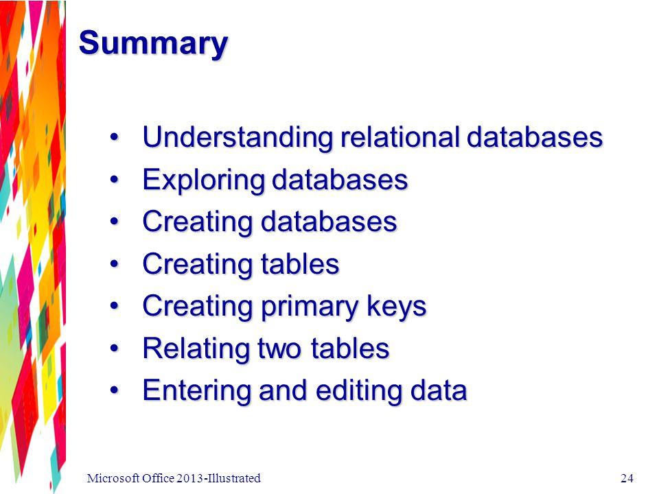 Summary Understanding relational databasesUnderstanding relational databases Exploring databasesExploring databases Creating databasesCreating databas
