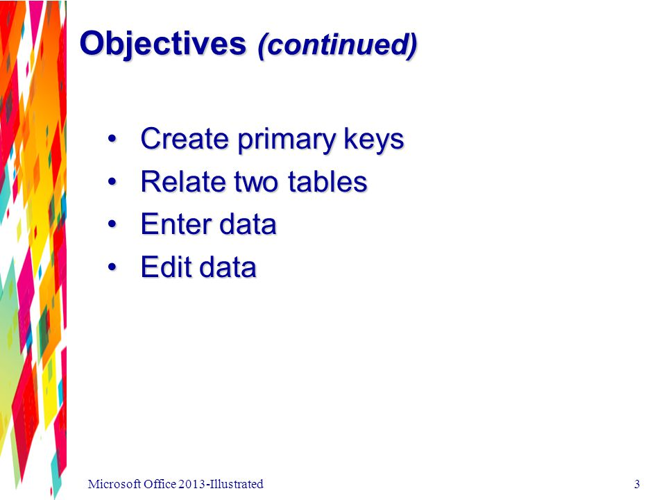 Objectives (continued) Create primary keysCreate primary keys Relate two tablesRelate two tables Enter dataEnter data Edit dataEdit data Microsoft Office 2013-Illustrated3