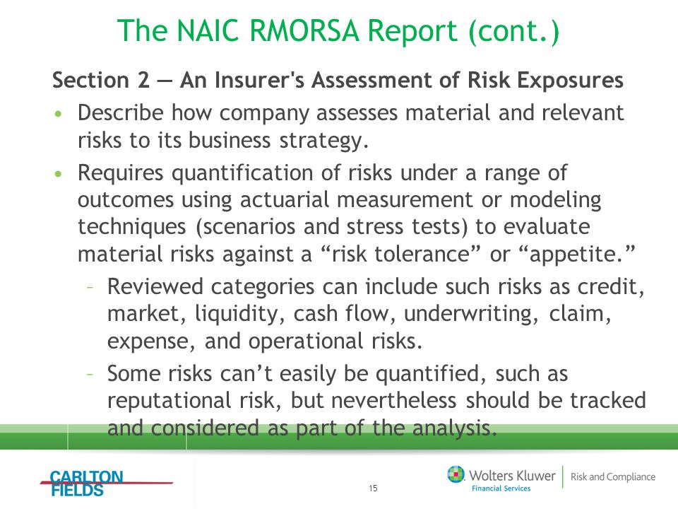 The NAIC RMORSA Report (cont.) Section 2 — An Insurer s Assessment of Risk Exposures Describe how company assesses material and relevant risks to its business strategy.