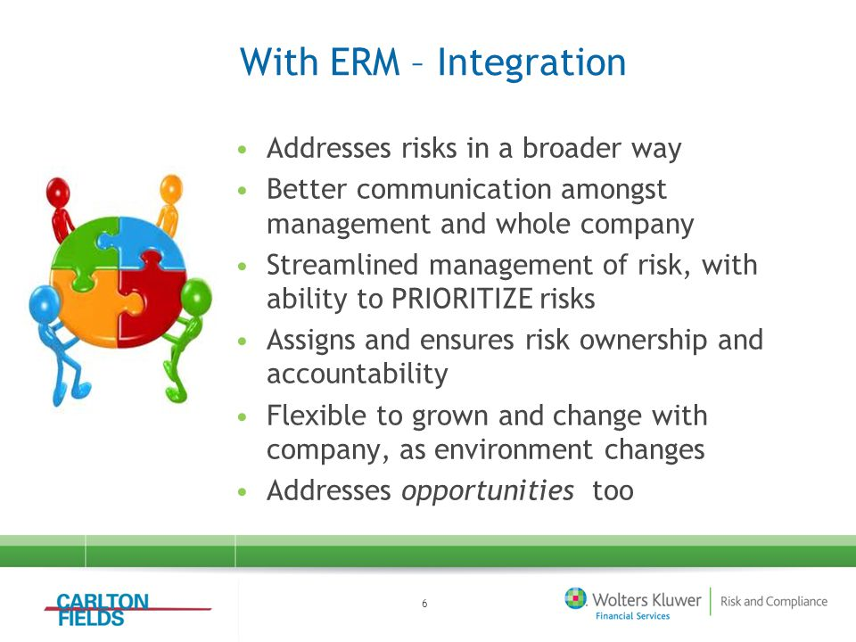 With ERM – Integration Addresses risks in a broader way Better communication amongst management and whole company Streamlined management of risk, with ability to PRIORITIZE risks Assigns and ensures risk ownership and accountability Flexible to grown and change with company, as environment changes Addresses opportunities too 6
