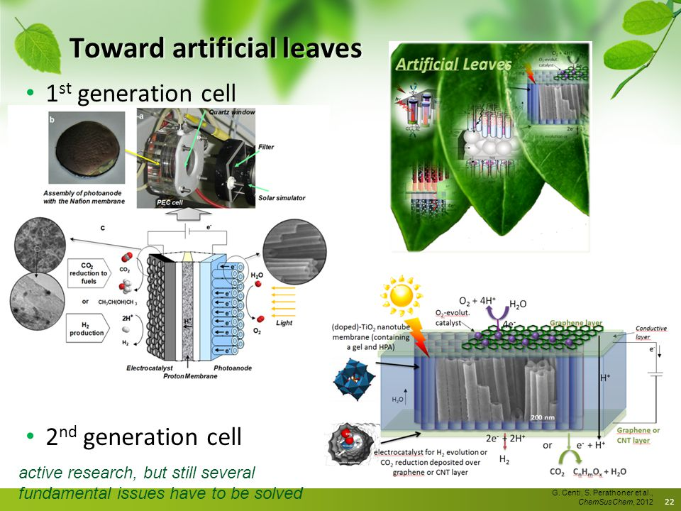 Toward artificial leaves 1 st generation cell 2 nd generation cell 22 G. Centi, S. Perathoner et al., ChemSusChem, 2012 active research, but still sev