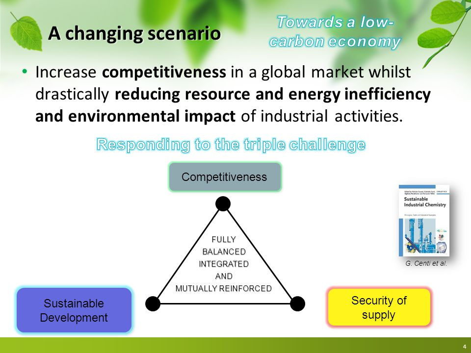 A changing scenario Increase competitiveness in a global market whilst drastically reducing resource and energy inefficiency and environmental impact