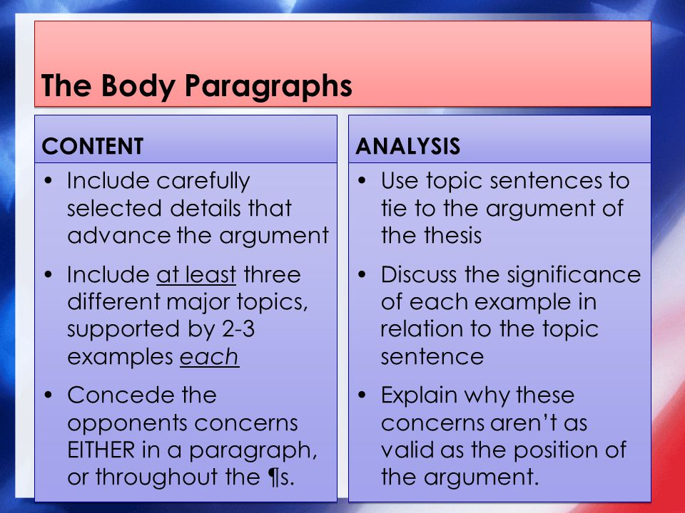 The Body Paragraphs CONTENT Include carefully selected details that advance the argument Include at least three different major topics, supported by 2-3 examples each Concede the opponents concerns EITHER in a paragraph, or throughout the ¶s.