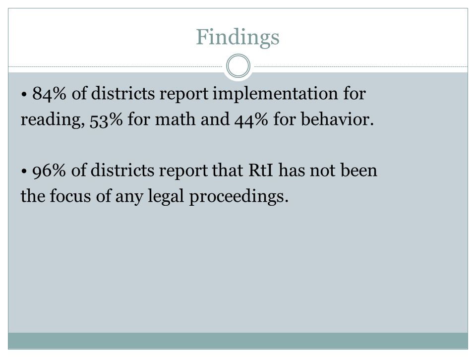 Findings 71% of districts report that they are using RtI for ALL students. 29% report that they are using it primarily to identify students for specia