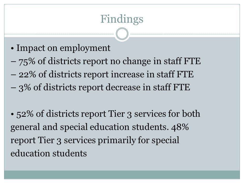 Findings 84% of districts report implementation for reading, 53% for math and 44% for behavior. 96% of districts report that RtI has not been the focu