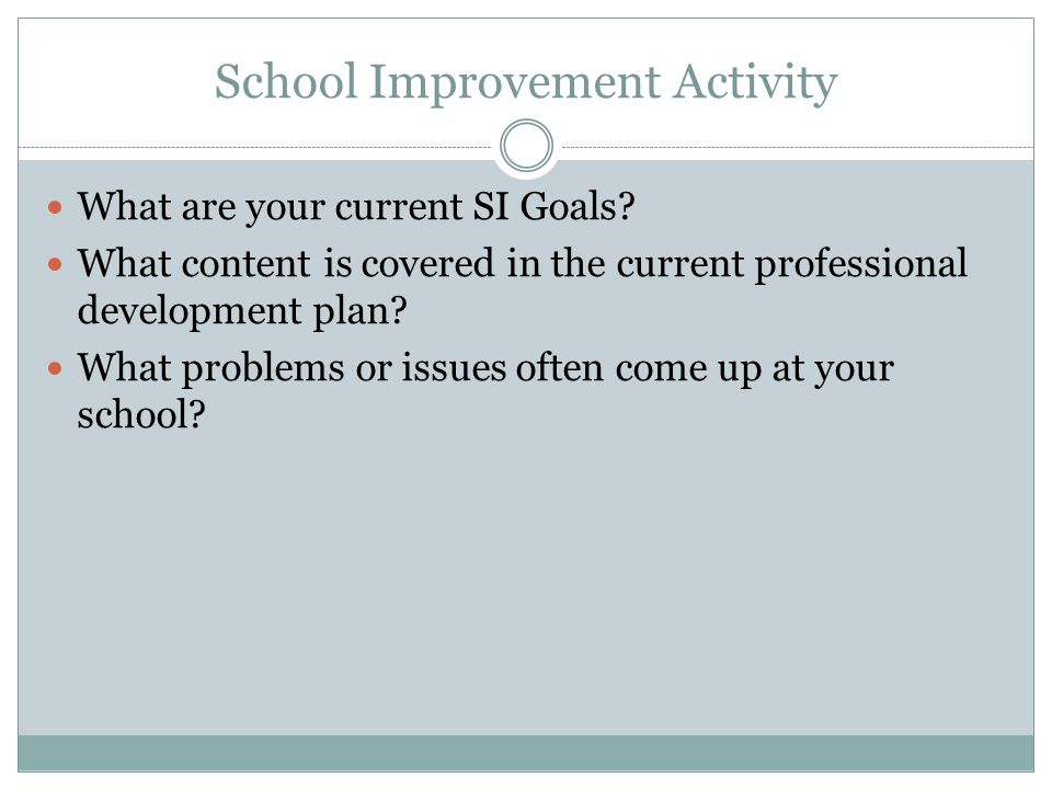 School Improvement Activity What are your current SI Goals.