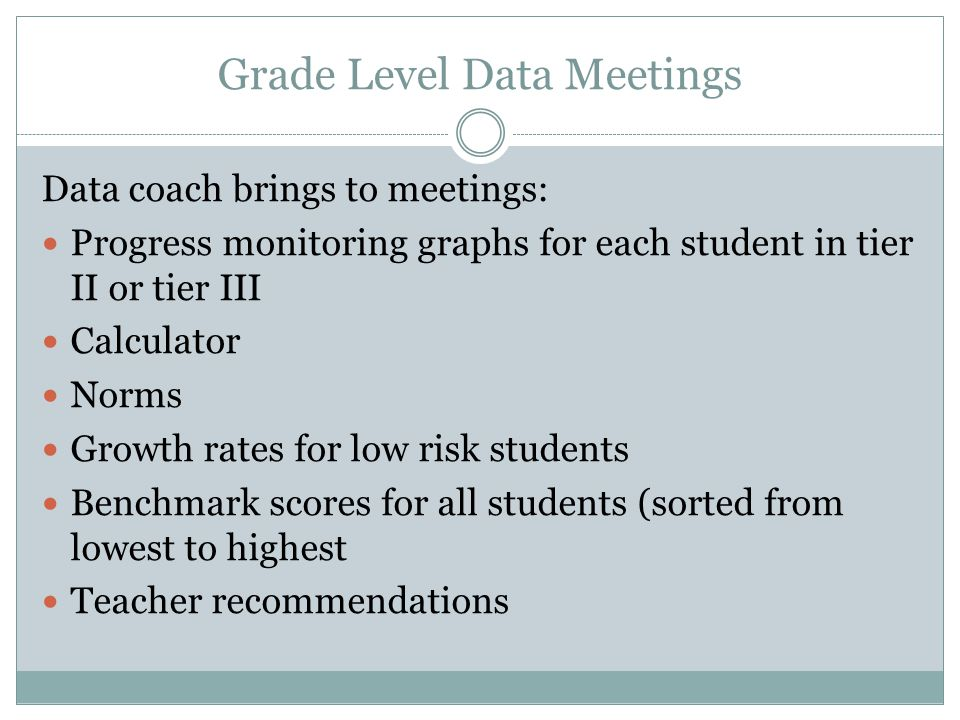 Individual Problem Solving: Team Meetings Data Coach brings to meetings: Progress monitoring graph(s) Calculator Norms Growth rates for low-risk stude
