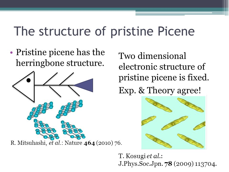 The structure of pristine Picene Pristine picene has the herringbone structure. Two dimensional electronic structure of pristine picene is fixed. Exp.