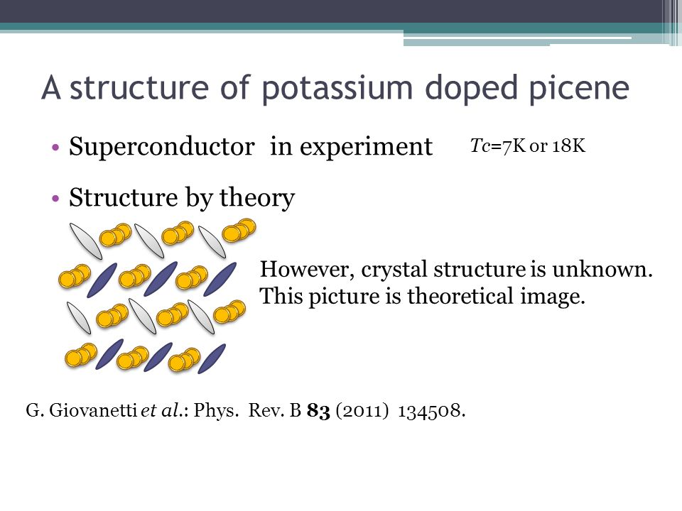 A structure of potassium doped picene G. Giovanetti et al.: Phys. Rev. B 83 (2011) 134508. Tc=7K or 18K Superconductor in experiment Structure by theo