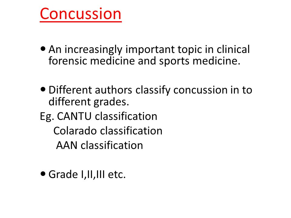 Concussion An increasingly important topic in clinical forensic medicine and sports medicine.