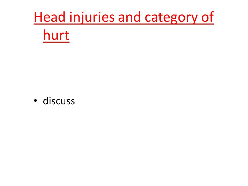 Head injuries and category of hurt discuss