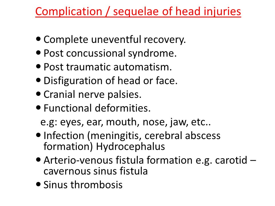 Complication / sequelae of head injuries Complete uneventful recovery.