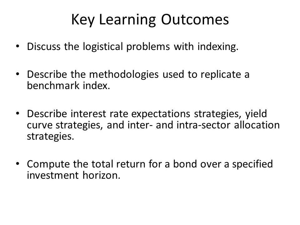 Key Learning Outcomes Discuss the logistical problems with indexing. Describe the methodologies used to replicate a benchmark index. Describe interest