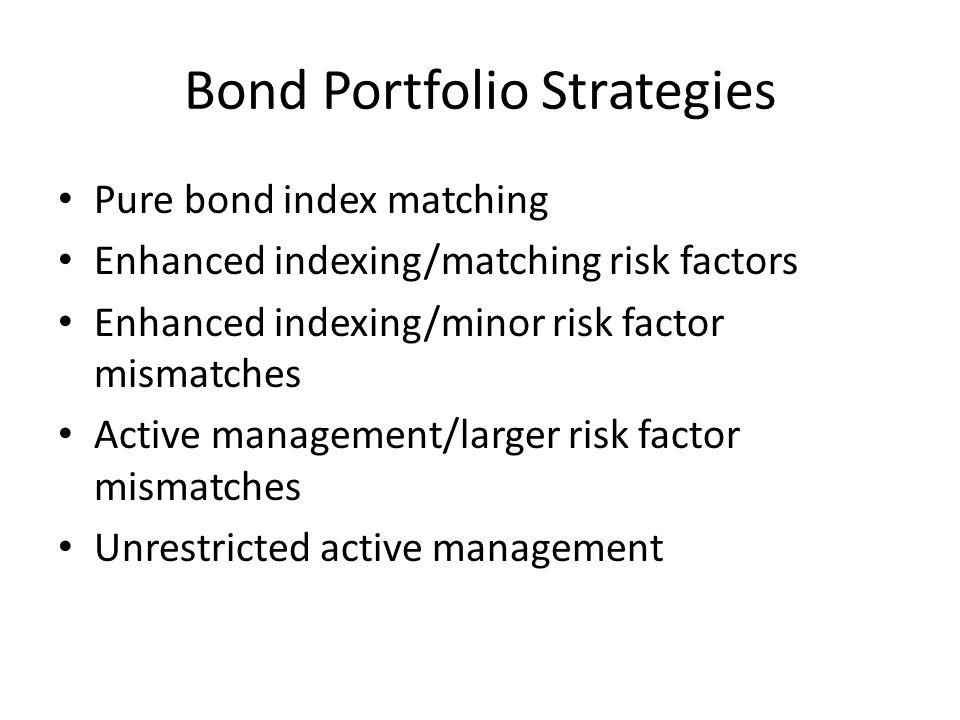 Bond Portfolio Strategies Pure bond index matching Enhanced indexing/matching risk factors Enhanced indexing/minor risk factor mismatches Active manag