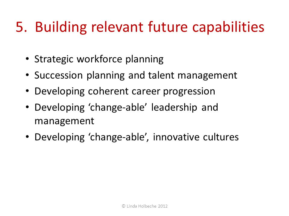 5. Building relevant future capabilities Strategic workforce planning Succession planning and talent management Developing coherent career progression