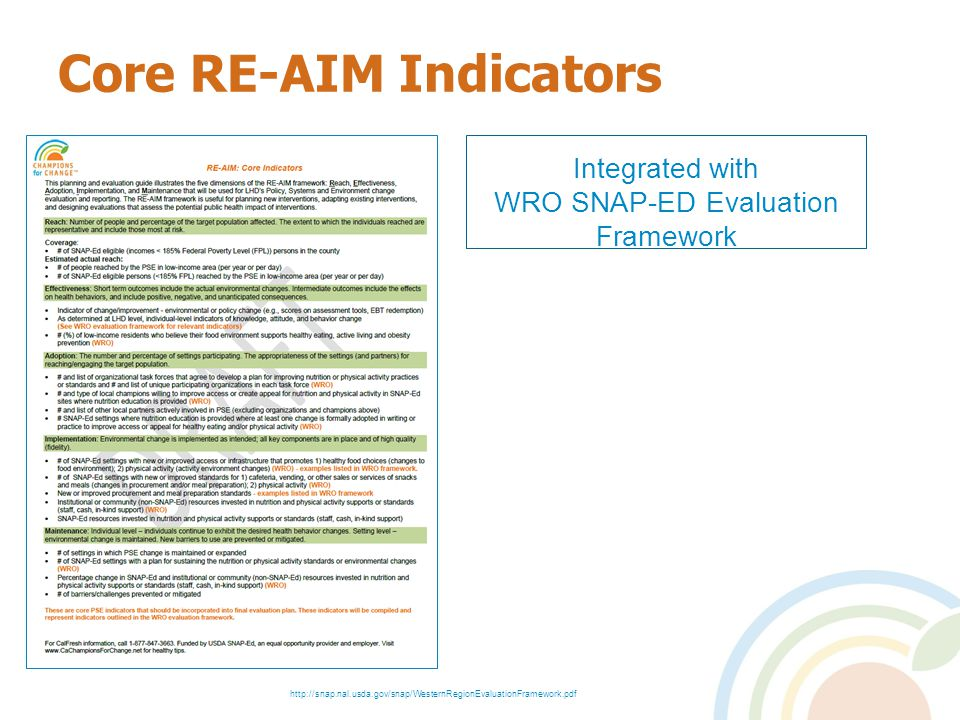 Core RE-AIM Indicators Integrated with WRO SNAP-ED Evaluation Framework http://snap.nal.usda.gov/snap/WesternRegionEvaluationFramework.pdf