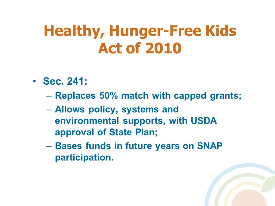 Healthy, Hunger-Free Kids Act of 2010 Sec.
