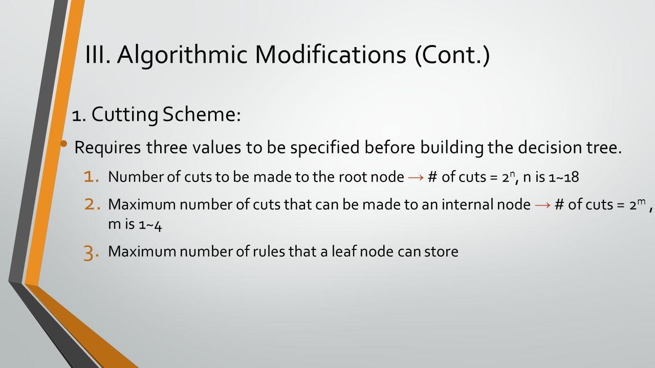 III.Algorithmic Modifications (Cont.) 1.