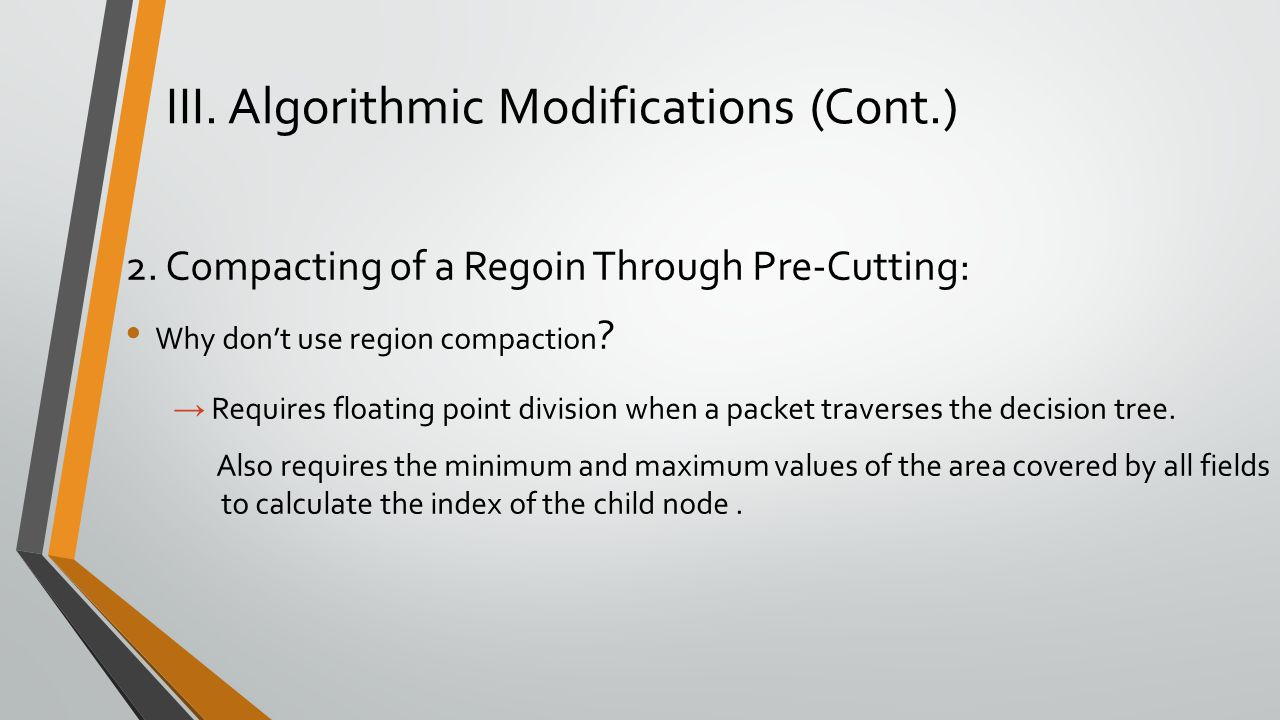 III. Algorithmic Modifications (Cont.) 2. Compacting of a Regoin Through Pre-Cutting: Why don't use region compaction ? → Requires floating point divi
