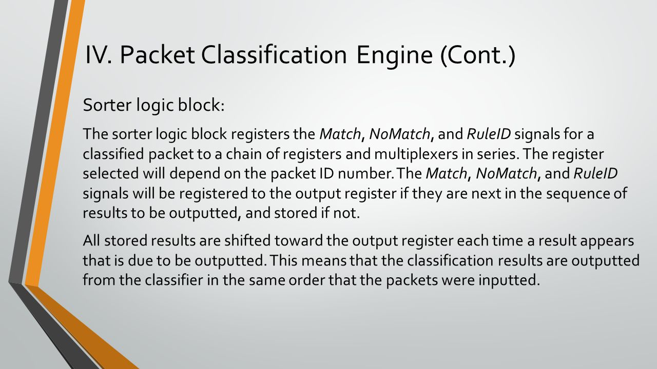 Sorter logic block: The sorter logic block registers the Match, NoMatch, and RuleID signals for a classified packet to a chain of registers and multiplexers in series.