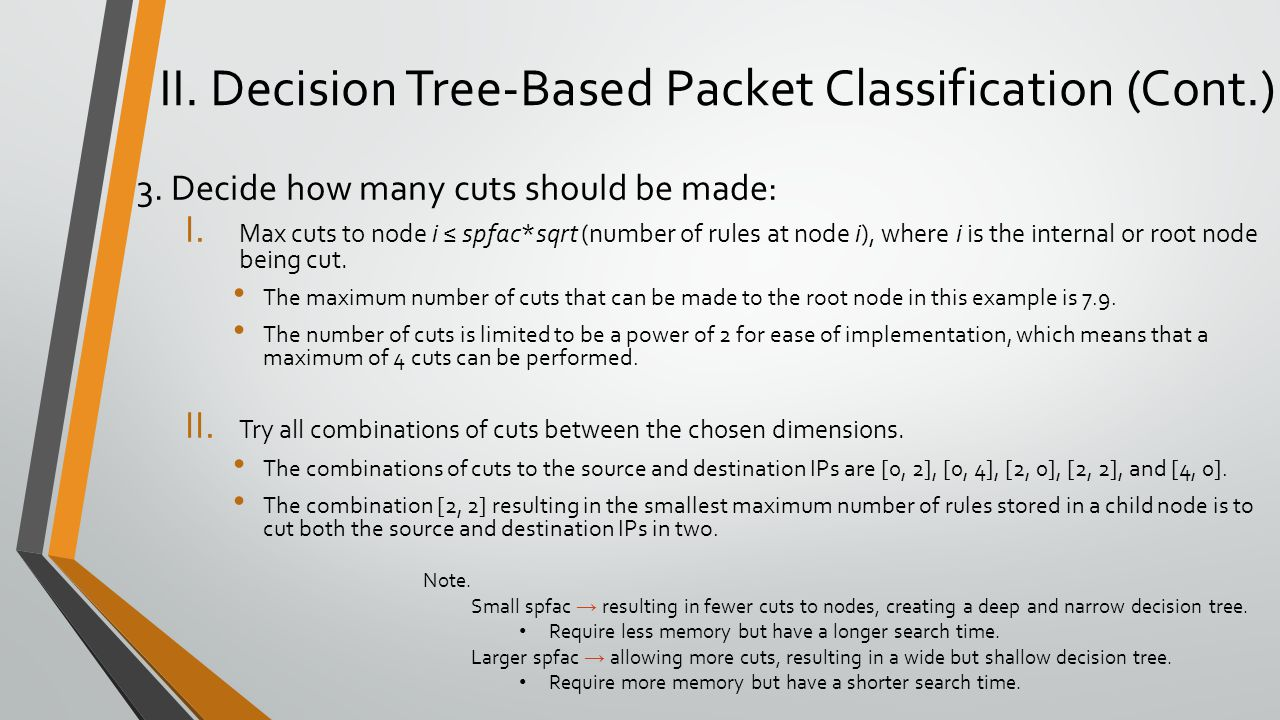 II. Decision Tree-Based Packet Classification (Cont.) 3. Decide how many cuts should be made: I. Max cuts to node i ≤ spfac*sqrt (number of rules at n