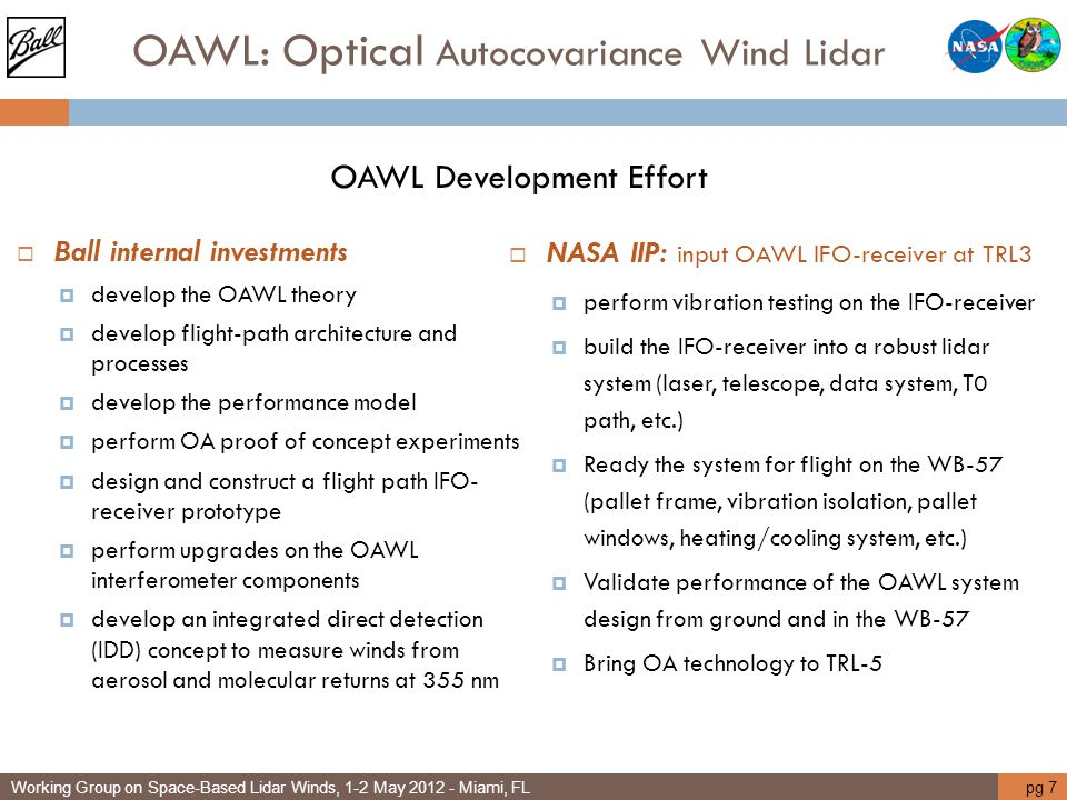 OAWL: Optical Autocovariance Wind Lidar OAWL Development Effort  Ball internal investments  develop the OAWL theory  develop flight-path architectu