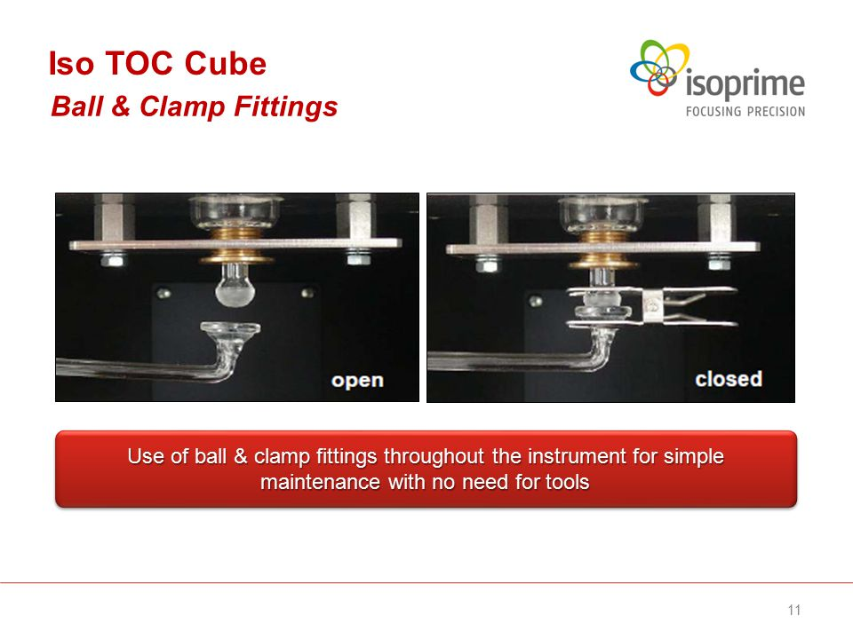 Use of ball & clamp fittings throughout the instrument for simple maintenance with no need for tools Ball & Clamp Fittings Iso TOC Cube 11