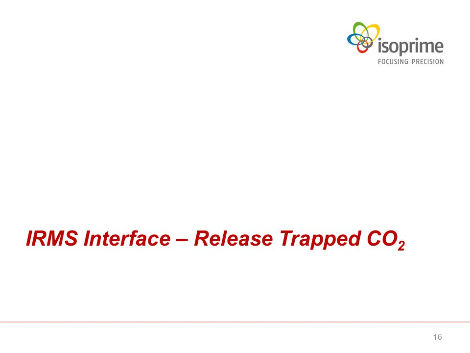 IRMS Interface – Release Trapped CO 2 16