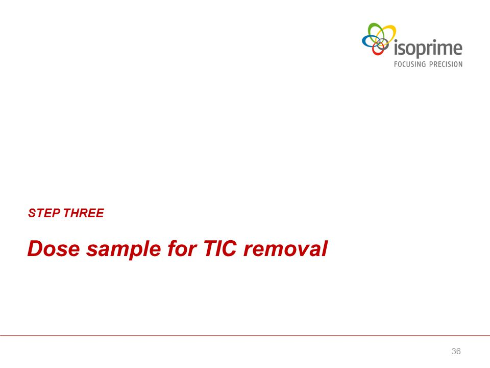 Dose sample for TIC removal STEP THREE 36