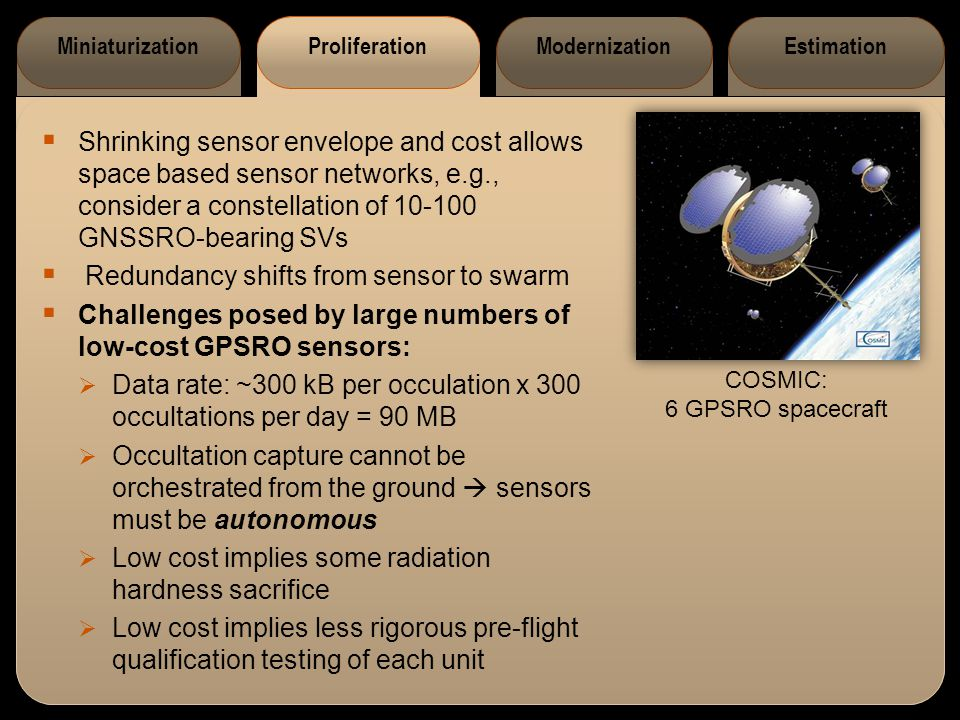 MiniaturizationProliferationModernizationEstimation  Shrinking sensor envelope and cost allows space based sensor networks, e.g., consider a constell