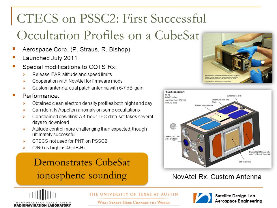 Satellite Design Lab Aerospace Engineering CTECS on PSSC2: First Successful Occultation Profiles on a CubeSat  Aerospace Corp. (P. Straus, R. Bishop)