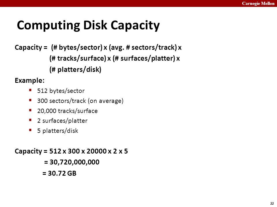 Carnegie Mellon 22 Computing Disk Capacity Capacity = (# bytes/sector) x (avg.