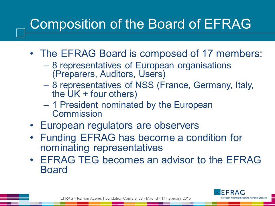 Composition of the Board of EFRAG The EFRAG Board is composed of 17 members: –8 representatives of European organisations (Preparers, Auditors, Users) –8 representatives of NSS (France, Germany, Italy, the UK + four others) –1 President nominated by the European Commission European regulators are observers Funding EFRAG has become a condition for nominating representatives EFRAG TEG becomes an advisor to the EFRAG Board EFRAG - Ramon Aceres Foundation Conference - Madrid - 17 February 2015