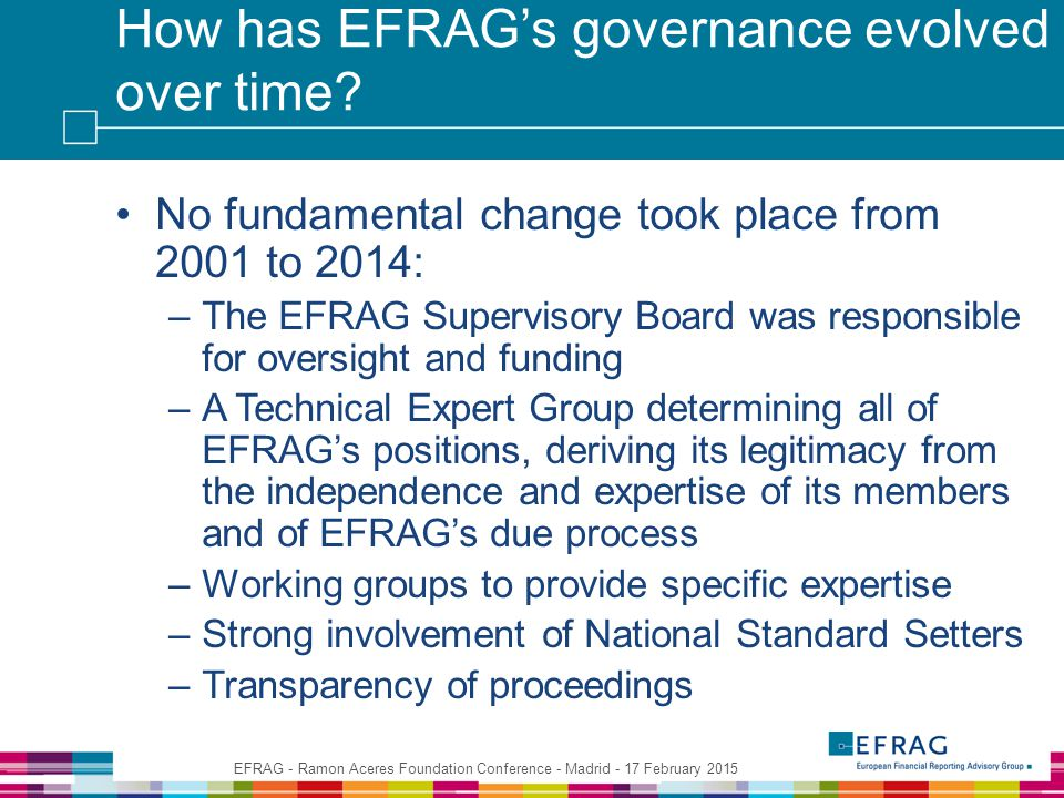 How has EFRAG's governance evolved over time.