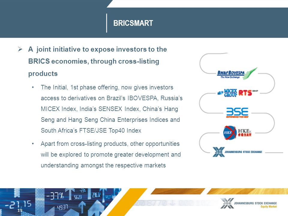 19 BRICSMART  A joint initiative to expose investors to the BRICS economies, through cross-listing products The Initial, 1st phase offering, now gives investors access to derivatives on Brazil's IBOVESPA, Russia's MICEX Index, India's SENSEX Index, China's Hang Seng and Hang Seng China Enterprises Indices and South Africa's FTSE/JSE Top40 Index Apart from cross-listing products, other opportunities will be explored to promote greater development and understanding amongst the respective markets