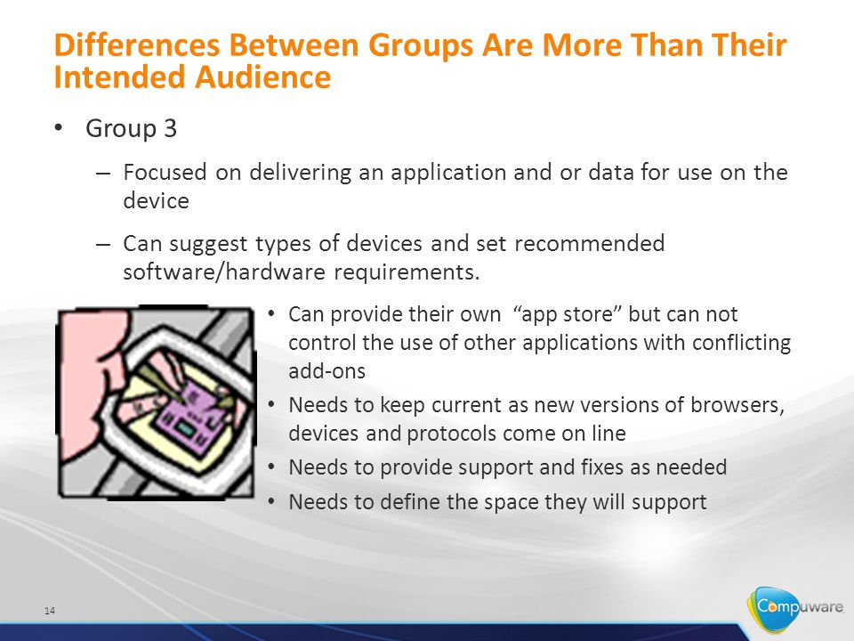 Differences Between Groups Are More Than Their Intended Audience Group 3 – Focused on delivering an application and or data for use on the device – Can suggest types of devices and set recommended software/hardware requirements.