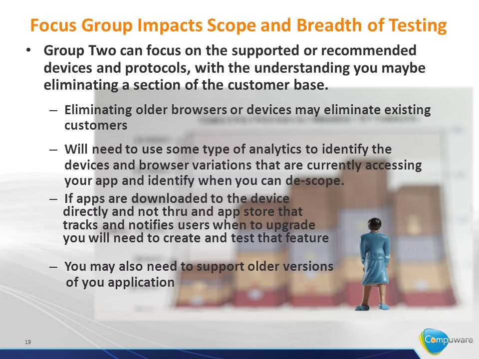 Focus Group Impacts Scope and Breadth of Testing Group Two can focus on the supported or recommended devices and protocols, with the understanding you maybe eliminating a section of the customer base.